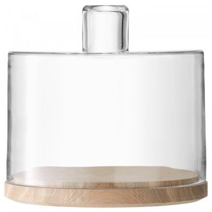 Platou lemn frasin cu capac sticla LSA International Lotta 25.5cm, h25cm