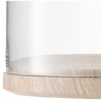 Platou lemn frasin cu capac sticla LSA International Lotta 32cm, h20cm