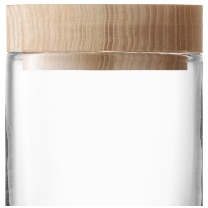 Recipient sticla LSA International Lotta cu capac lemn frasin h14cm