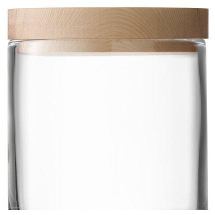 Recipient sticla LSA International Lotta cu capac lemn frasin h19cm