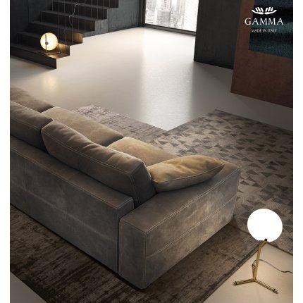 Canapea Gamma Bond cu 4 locuri, 295cm, piele Nabuk H270, HandMade in Italy