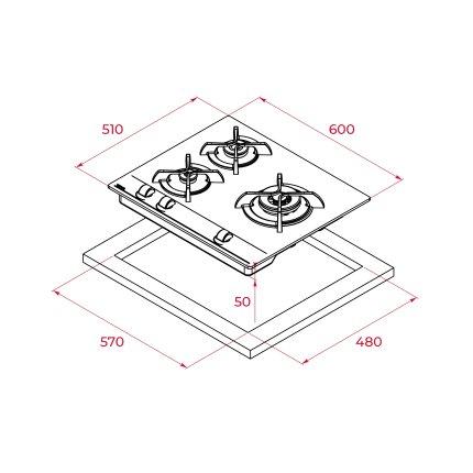 Plita gaz incorporabila Teka GBC 64000 KBN 60 cm, 4 arzatoare, gratare fonta, cristal negru