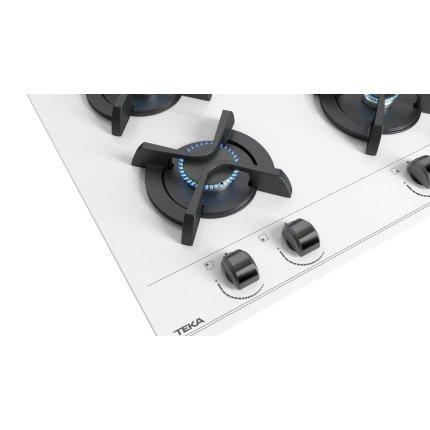 Plita gaz incorporabila Teka GBC 64001 cu 4 arzatoare, 60cm, gratare fonta, Cristal alb