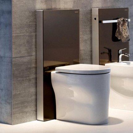 Rezervor wc Geberit Monolith Plus aparent pentru wc pe pardoseala, 114cm sticla umber