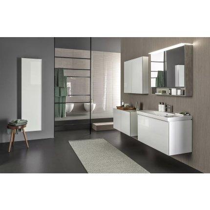 Lavoar Geberit Acanto 60x48.2cm, preaplin mascat, capac ceramic ventil, montare pe mobilier, alb