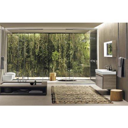 Dulap baza Geberit Citterio 88.4cm, pentru lavoar tip bol, un sertar sticla neagra, corp stejar maro gri