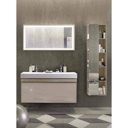 Oglinda cu iluminare Geberit Citterio 88.4x58.4cm, rama stejar maro gri