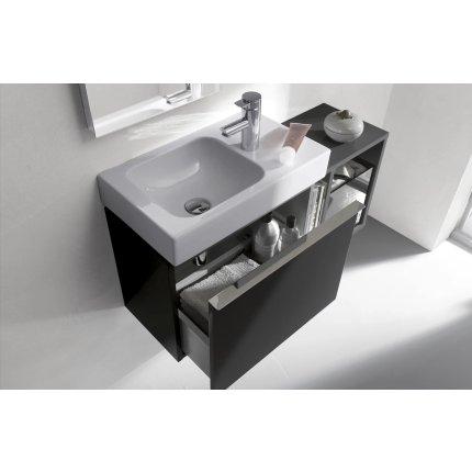 Lavoar asimetric Geberit iCon 53x31cm, orificiu baterie stanga, fara preaplin, montare pe mobilier, alb