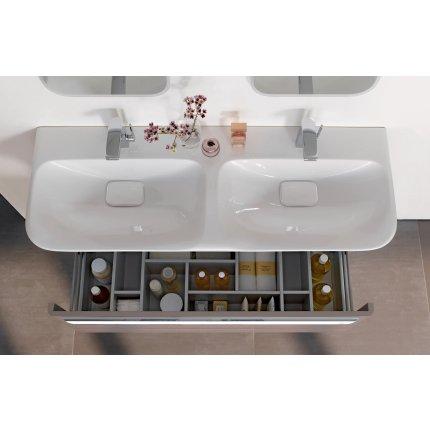 Dulap baza pentru lavoar tip bol Geberit myDay 115cm cu un sertar, orientare dreapta, taupe lucios