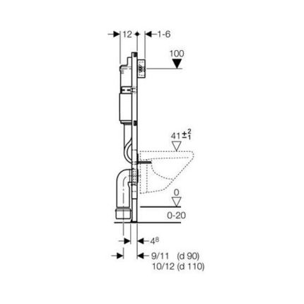 Rezervor incastrat Geberit Duofix Delta 100 de 12 cm grosime cu cadru si actionare frontala H112cm