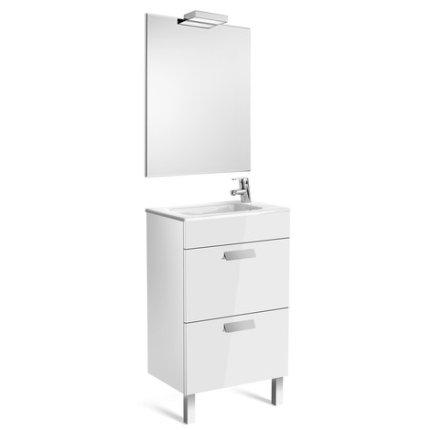 Set mobilier Roca Debba Compact dulap baza cu 2 sertare 50x36cm alb, lavoar si oglinda iluminata