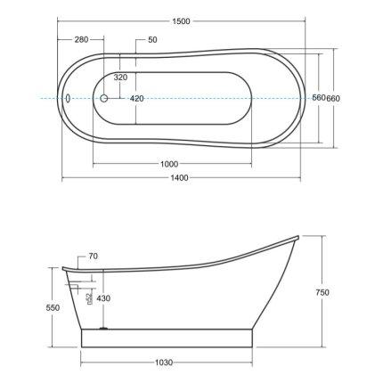 Cada ovala free-standing Besco Gloria 150x68 cm