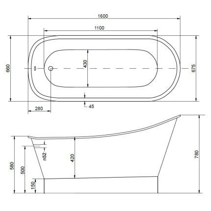 Cada freestanding Besco Gloria Glam 160x68cm, Graphite