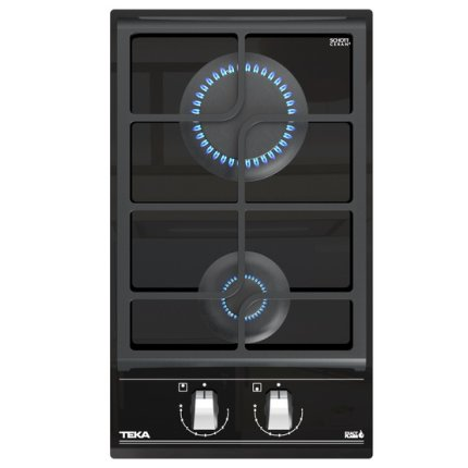 Plita gaz incorporabila Teka GZC 32300 Domino, cu 2 arzatoare, 30cm, gratare fonta, Cristal negru