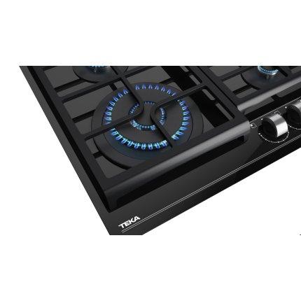Plita gaz incorporabila Teka GZC 64320 cu 4 arzatoare, 60cm, gratare fonta, Cristal negru