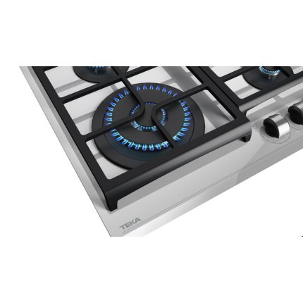Plita gaz incorporabila Teka GZC 64320 cu 4 arzatoare, 60cm, gratare fonta, Cristal Steam Grey