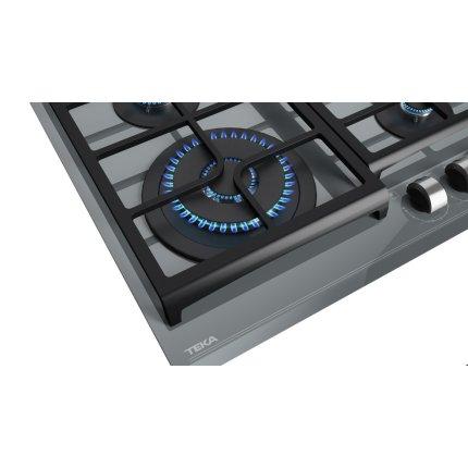 Plita gaz incorporabila Teka GZC 64320 cu 4 arzatoare, 60cm, gratare fonta, Cristal Stone Grey