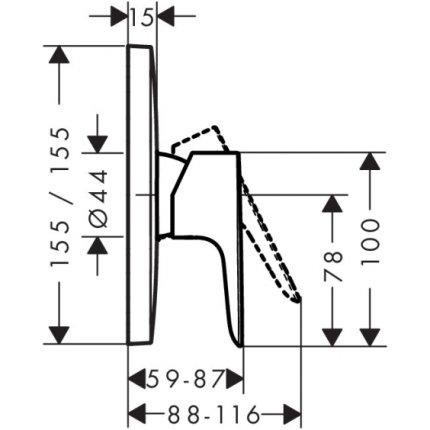 Baterie dus Hansgrohe Talis S montaj incastrat, necesita corp ingropat