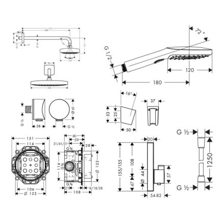 Sistem de dus incastrat termostatat Hansgrohe Design Raindance Select E Shower Select S cu 2 consumatori