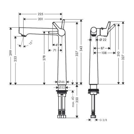 Baterie lavoar Hansgrohe Talis S 250, ventil pop-up, pentru lavoar tip bol