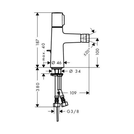 Baterie bideu Hansgrohe Talis Select S cu ventil pop-up