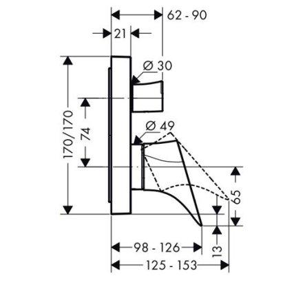 Baterie cada Hansgrohe Axor Starck Organic montaj incastrat, necesita corp ingropat