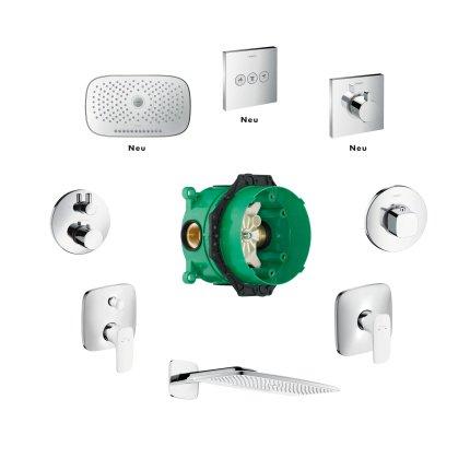 Baterie dus termostatata Hansgrohe ShowerSelect cu 2 functii si cu agatatoare dus, montaj incastrat, necesita corp ingropat
