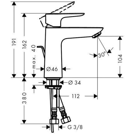 Baterie lavoar Hansgrohe Talis E 110, ventil pop-up, crom