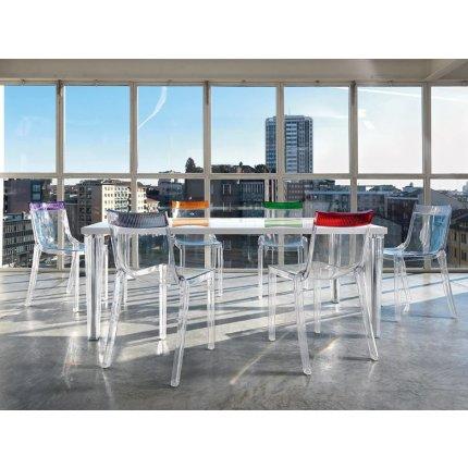 Scaun Kartell HI-CUT design Philippe Stark & Eugeni Quittlet, transparent-rosu