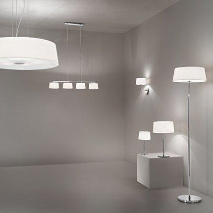 Suspensie Ideal Lux Hilton SP6, 6x60W, 60x25-110cm, alb