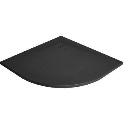 Cadita dus semirotunda slim Radaway Kyntos A 80x80x3cm, marmura, negru