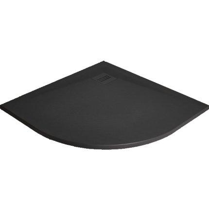 Cadita dus semirotunda slim Radaway Kyntos A 90x90x3cm, marmura, negru