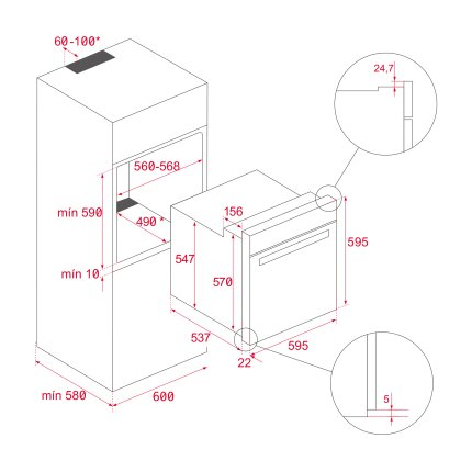 Cuptor incorporabil Teka AirFry HLB 8416, 70 litri, 9 functii, HydroClean PRO, Fry Master Box, negru