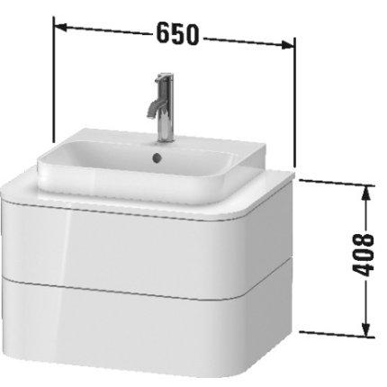 Dulap baza suspendat Duravit Happy D.2 Plus 65cm, cu 2 sertare, alb nordic mat satinat
