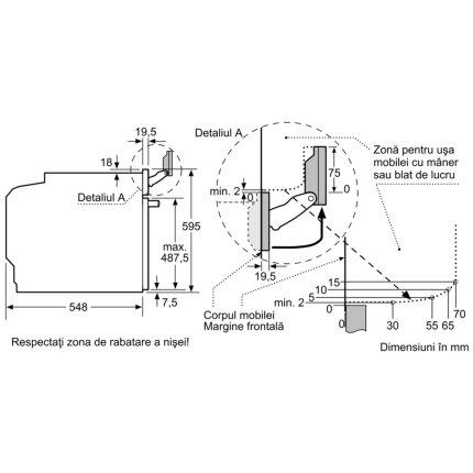 Cuptor electric incorporabil Bosch HSG636XS6 Home Connect, 71 litri, multifunctional 14 functii, optiune aburi, autocuratare pirolitica, PerfectBake, PerfectRoast, Clasa A+, inox