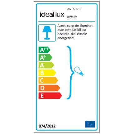 Suspensie Ideal Lux Aria SP1, 1x60W E27, h 26-235cm, alb