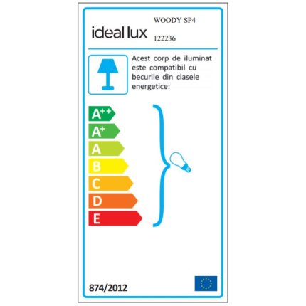 Suspensie Ideal Lux Woody SP4, 4x60W E27, d50cm, h30-110cm, negru