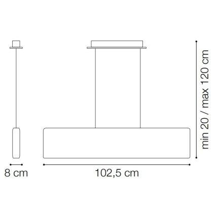 Suspensie Ideal Lux Desk SP1, max 23W LED, 102.5x20/120cm, alb