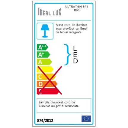 Pendul Ideal Lux Ultrathin SP1 BIG, max 12W LED, 3x115/186cm, negru