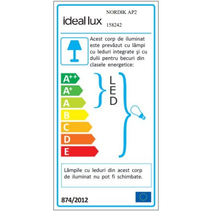 Aplica Ideal Lux Nordik AP2, 1x40W E14, LED 1W, negru mat