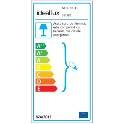 Veioza Ideal Lux Nordik TL1, 1x60W E27, h48cm, negru mat