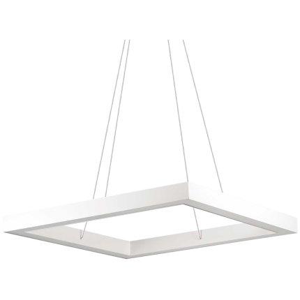 Suspensie Ideal Lux Oracle Square D60, 39W LED, 60x60cm, h120cm, bianco