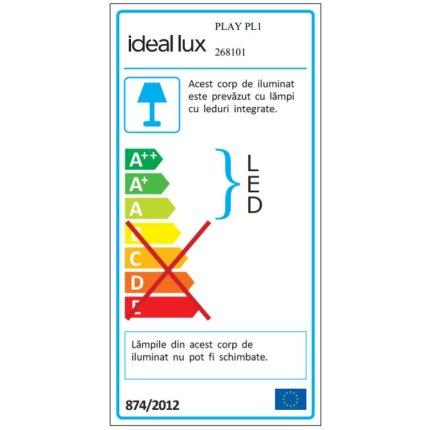 Aplica Ideal Lux Play PL1, LED 7W, negru