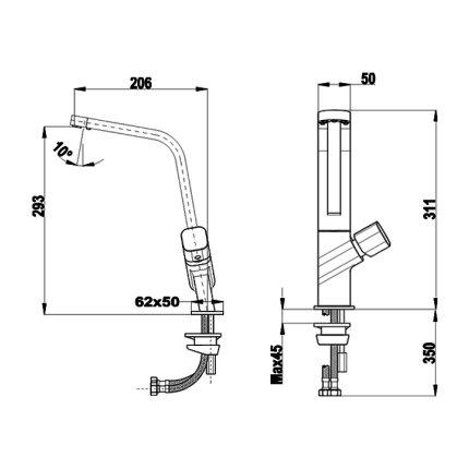 Baterie bucatarie Teka ICO 915, 5 aeratoare anticalcar, crom