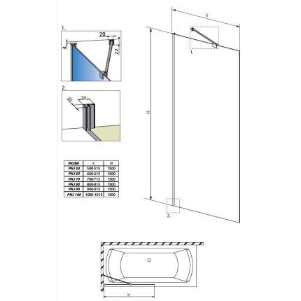 Paravan cada Radaway Idea PNJ, un element fix, 80cm