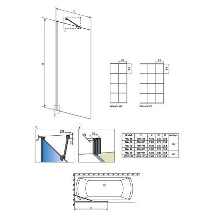Paravan cada Radaway Idea Black Factory PNJ, un element fix, 60cm