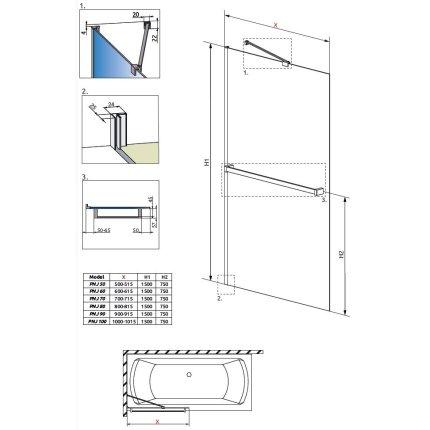 Paravan cada Radaway Idea PNJ, un element fix, 60cm cu suport prosop