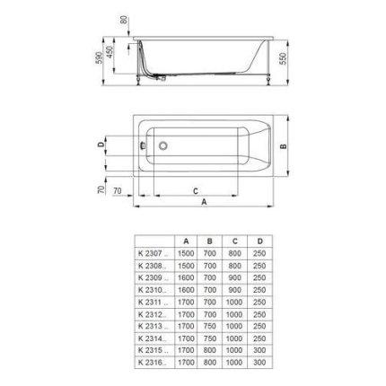 Panou frontal cada Ideal Standard 170cm, acril