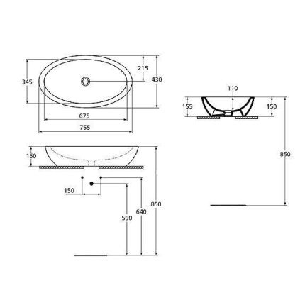 Lavoar Ideal Standard Strada 75x42cm, fara orificiu baterie, fara preaplin, montare pe blat