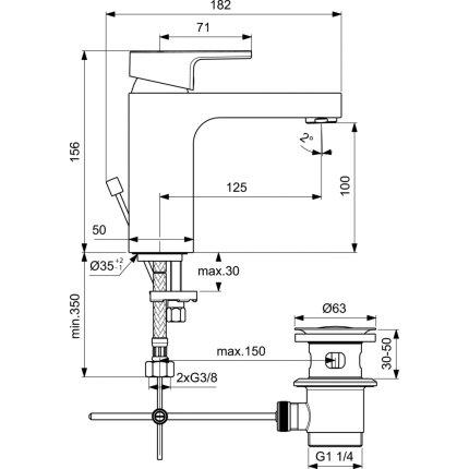 Baterie lavoar Ideal Standard Edge, ventil metalic pop-up